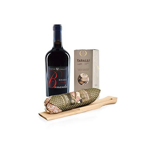 """Kit de aperitivo """"Sabores simples"""" con vino tinto Bonarda dell'Oltrepò Pavese DOC, salami Campagnolo con tabla de cortar 270g y taralli, Salumi Pasini"""