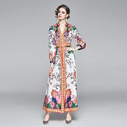 QUNLIANYI Primavera Verano Mujer Maxi Vestido Vintage Un Solo Pecho Estampado de Flores Manga Larga Fajas Vestido XXL Blanco