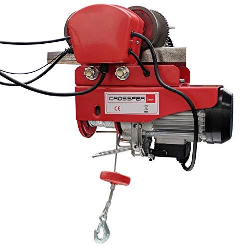 CROSSFER Elektrische Seilwinde mit Laufkatze HDGD-300 Hebeleistung 150/300 Kg Seilzug mit Fahrwerk 12 Meter Stahlseil 230V