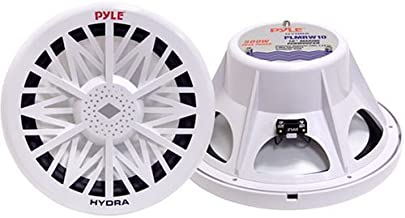 Single Outdoor Marine Audio Subwoofer - 500 Watt 10 Inch White Waterproof Bass Loud Speaker For Marine Stereo Sound System, Under Helm or Box Case Mount in Small Boat, Marine Vehicle - Pyle PLMRW10