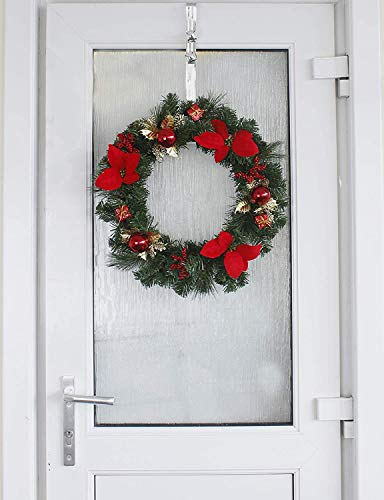 HomeZone Large 40cm Red & Gold Christmas Wreath With Baubles Berries And Poinsetta Deluxe Hanging Front Door Wreath Garland Xmas Decor For Home Or Office Traditional Christmas Decorations