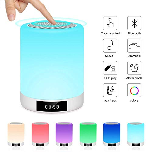 Luces nocturnas Altavoz Bluetooth, Ranipobo Sensor táctil Lámpara de cabecera con reloj despertador, Reproductor de música MP3,Radio FM, Lámpara LED de control táctil Regulable Luces cálidas 7 colores