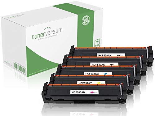 5tóner Compatible con HP cf530a/cf531a/cf532a/cf533a para LaserJet Pro MFP m180N m181fw–205A–5Unidades) CMYK