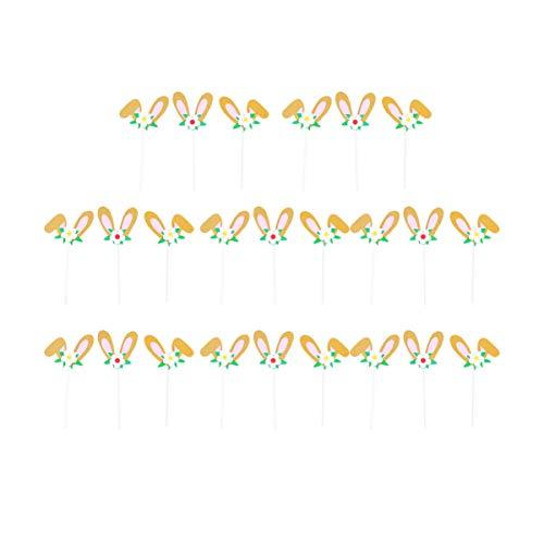 PRETYZOOM 24Pcs Hasenohren Cupcake Topper Glitter Hasenohren Blumenkuchen Pick Niedlichen Papier Dessert Pick Eingefügt Karte Pflanze Topf Pfahl Vase Füller für Ostern Party Dekoration