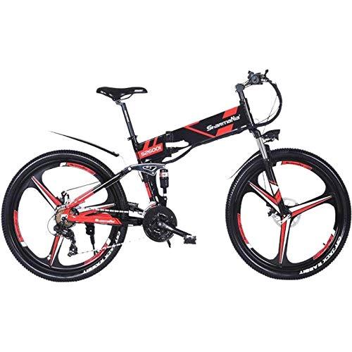 XXCY Bicicleta de montaña eléctrica Plegable Bicicleta de montaña para Hombre MTB M80 10.2Ah Batería de Iones de Litio 5 Niveles Pas Velocidad Alta función Velocímetro Doble Susepensión