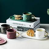 LIANG Taza de Navidad con borde dorado de cerámica tazas de café y platillos cuchara de juegos con caja de regalo té leche de soja desayuno tazas plato de postre