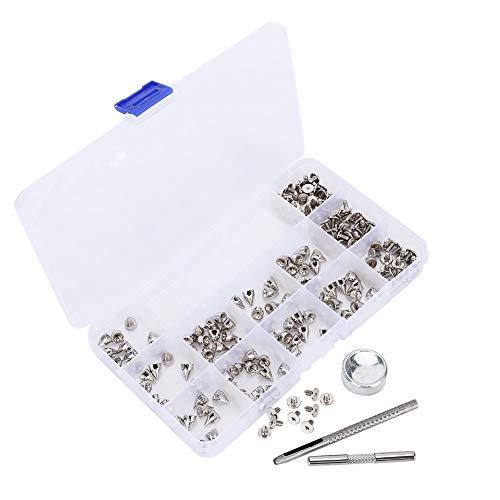 Punk Spikes Remaches Aleación de zinc Pernos de cono de plata Tornillos de rosca Remaches Kit de tornillos Decoración de bricolaje 7 × 9 mm