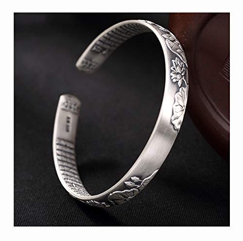 FAYFMA Pulsera de plata de ley con diseño de loto, estilo retro, con apertura ajustable, pulsera de plata para regalo
