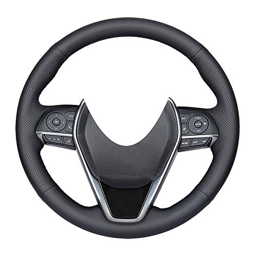 Eiseng DIY Steering Wheel Cover Custom Fit for Toyota Camry 2018 2019 2020 / Corolla 2020 / RAV4 Avalon 2019 2020 2021 Stitch On Wrap Interior Accessories Black Genuine Leather