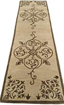 """Hind Carpets Export Quality Pure Woollen Carpet Collection with 1.0"""" inch Thickness 2.6 X 7.6 Feet Ivory"""