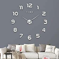 VREAONE Frameless Large 3D DIY Wall Clock,3D Mirror Wall Clock Large Mute Wall Stickers for Living Room Bedroom Home Decorations(WL01-Silver)