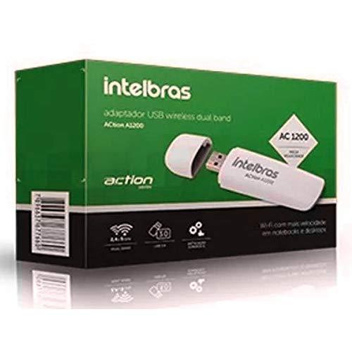 Adaptador USB Wireless Intelbras Dual Band ACtion A1200 Branco