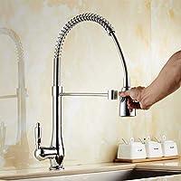 クロームソリッドブラスキッチン蛇口スイベルシングルハンドル温水および冷水キッチンミキサーシンクタップ