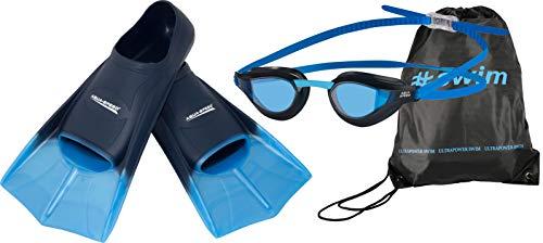 Aqua Speed High Tech - Aletas de natación Cortas para Adultos y niños + Mochila Ultrapower + Gafas de natación Rapid - Aletas de Entrenamiento - Aletas Cortas - 31/32, X-Train - 03