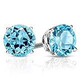 Gem Stone King 925 Sterling Silver Swiss Blue Topaz Gemstone Birthstone Stud Earrings, 3.10 Ctw Round 7MM