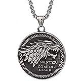 Viking Coin Ice Wolf Colgante Joyas Stark Collar para Hombre Vintage Punk Encanto Acero Inoxidable Juego Derechos Motorista Colgante de Personalidad con Cadena de 23 Pulgadas,Ice Wolf