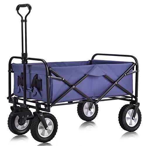 Zusammenklappbarer Bollerwagen Draußen Alles Gelände Handwagen mit breiter Bremsräche, Mesh-Trinkhaltern, verstellbarem Griff, Stofftasche (Blau)