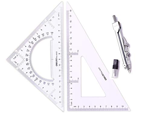 3 Piece Student Geometry Math Set,Drawing Compass Triangle Protractor and Triangle Ruler