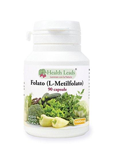 Folato (L-metilfolato) 1000μg x 90 capsule, 5-MTHF Forma attiva di acido folico/vitamina B9, Supporta la normale crescita del t