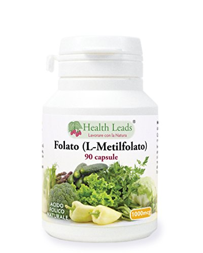 Folato (L-metilfolato) 1000μg x 90 capsule, 5-MTHF Forma attiva di acido folico/vitamina B9, Supporta la normale crescita del tessuto materno durante la gravidanza,...