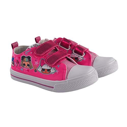 Canvas Sneakers Schoenen Meisje LOL Glitter | Zonder Snaren met Klittenband | Roze | Maten van 28 tot 35