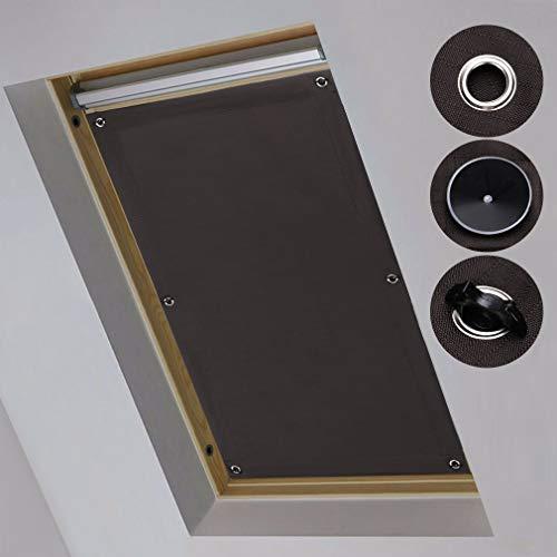 iKINLO 48 x 93cm -Fensterrollo Dachfensterrollo Verdunkelungsrollo Sonnenschutz Dachfenster Anti-UV Rollo mit 7 Saugnäpfe für Velux Dachfenster F06 und 206