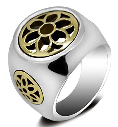 CHXISHOP Anillos de los hombres 925 Anillos de plata esterlina personalizados Hollow Lotus Anillos de los hombres Moda Fiesta Regalos de joyería (19#-24#) Plata- 20#