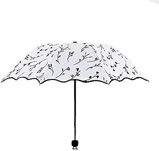 HKXR 29 Becautiful Flower 3 Folding Umbrella Woman Anti UV Sun Protection Umbrellas Windproof Black Coating 8K Parasols Umbrellas (Color : As Pictures)