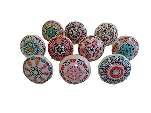 Pink 10 x Mix Vintage Look Flower Ceramic Knobs Door Handle Cabinet Drawer Cupboard Pull Mandala Xfer New by JGARTS (10)