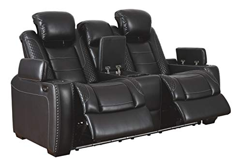 Signature Design by Ashley Party Time Faux Leather Power Reclining Loveseat with LED Lighting, Black