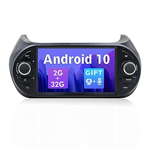 SXAUTO Android 10 Autoradio Compatibile Fiat Fiorino/Qubo/Citroen Nemo/Peugeot Bipper - Gratuita Camera Canbus MIC - [2G/32G] - 2 Din - Supporto 4G WiFi DAB Bluetooth5.0 Volante CarPlay Android Auto