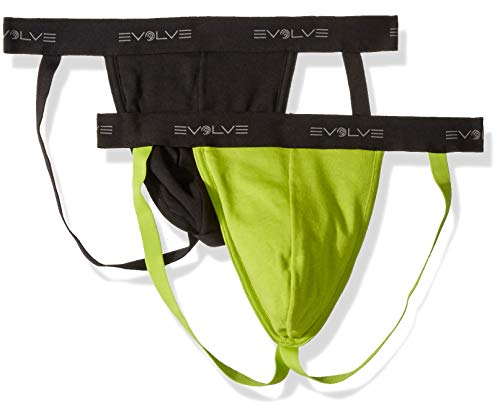 Evolve Men's Cotton Comfort Jock Strap Underwear Multipack, Black/Macaw Green, Medium