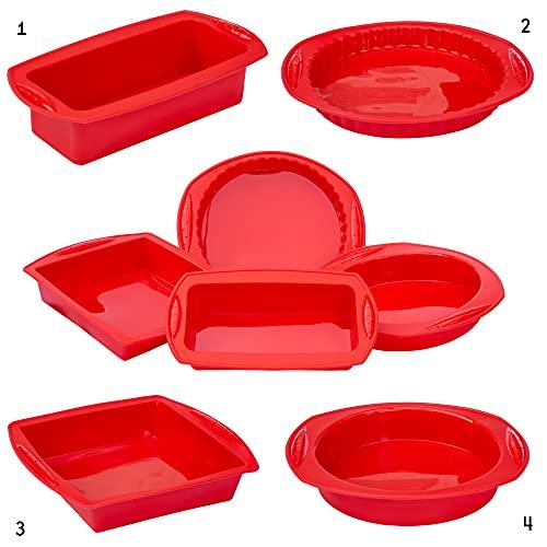 4 Moldes Reposteria de Silicona BRUMA Kit 4 Moldes para Hornear Bizcocho Tarta Pan Quiche Pizza Pastel Molde Cuadrado Rectangular y Redondo