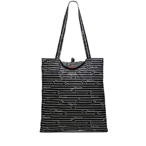 Radley Foldaway Shopper in Black Stripe Design