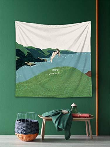 WERT Tapiz Bohemio Colgante de Pared decoración para el hogar Manta Arte Viaje Estera de Camping Dormitorio Fondo Tela sofá de Playa Cubierta A1 150x130cm