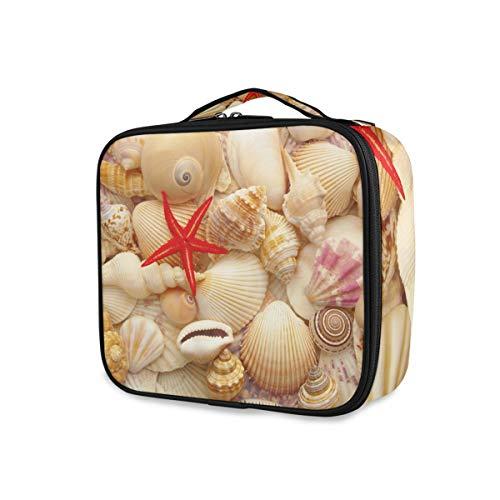 Red Starfish and Seashell Tools Estuche de tren cosmético Bolsa de maquillaje Almacenamiento de niñas Bolsa de aseo portátil de viaje