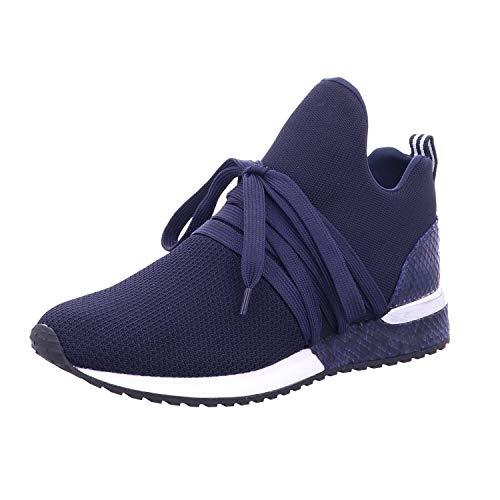 La Strada 1804 Damen Sneaker low mit Schnürung Textilfutter und Schlangenmuster, Groesse 37, rlau