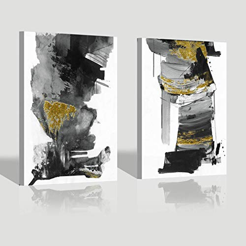 Black & White Abstract Wall Art: Ink Splash Oil Painting Modern Picture Canvas Prints