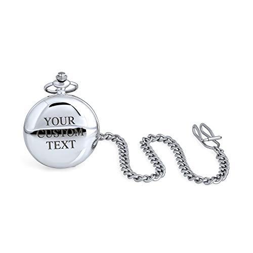 Tradicional personalizarlo redondo domo hombres esqueleto reloj de bolsillo para abuelo papá numeral blanco dial brillante plateado acabado pulido con cadena de bolsillo largo personalizado grabado