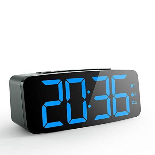 xinyawl Wecker 12/24 Stunden Elektronische Nixie-Uhr Große Zahlenanzeige Tischuhr Doppelalarmuhr Nachtlicht Mit USB-Kabel Einschlafen