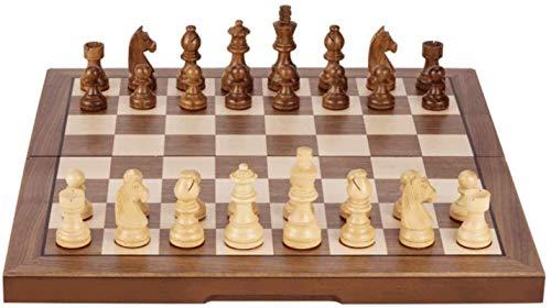 MWKLW Juego de ajedrez clásico Staunton Chess, Juego de Mesa con Tablero de ajedrez de Madera, Piezas para Adultos y niños, versión competitiva/de Aprendizaje de 15.7'
