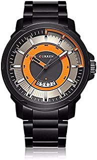 Curren 8229 Men's Waterproof Analog Display Stainless Steel Wrist Watch With Date - Black, Orange