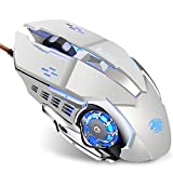 TENMOS K85 Wired Gaming Mouse Silent Click, Ergonomic Wired USB Computer Mouse with 4 Adjustable DPI, Breathing LED Light, 6 Buttons Compatible with PC, Laptop, Computer (Silver)