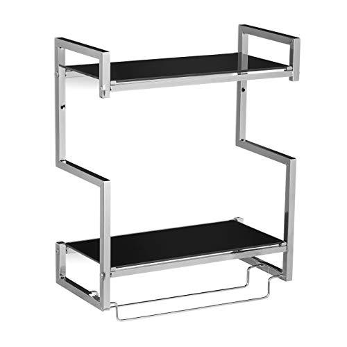 Relaxdays Étagère porte-serviette pour la salle de bain HxlxP: 53 x 44,5 x 21 cm rangement 2 barres 2 niveaux en verre et métal, argent-noir