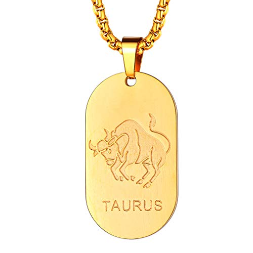 FaithHeart Taurus Dog Tag for Men Zodiac Pendant Stainless Steel Gold Neck Chain