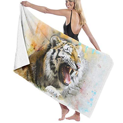 Jhonangel Toalla de Playa de Secado rápido Fierce Tiger Big Mouth Toalla súper Absorbente para niños y Adultos 80 x 130 cm / 32 x 52 Pulgadas
