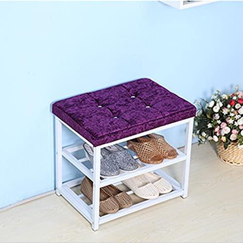 CAMILYIN Taburete de almacenamiento para cambio de zapatos, de piel sintética, de doble capa, de piel sintética, ahorra espacio, práctico reposapiés tapizado, asiento otomano, color morado