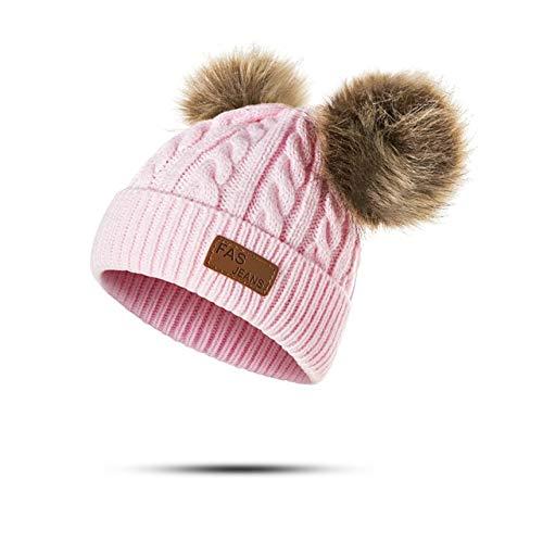 Gorros para bebés, pompón, Gorro de Invierno para niños, Gorro de Punto Bonito para niñas, niños, Gorro Informal de Color sólido para niñas, Gorros para bebés-Pink