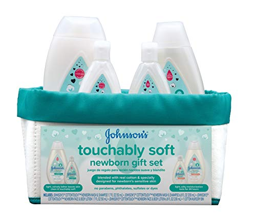 Johnson's Baby Touchably Soft Newborn Baby Gift Set For New Parents, Baby Bath & Skincare Essentials for Sensitive Skin, 5 items (381371177509)