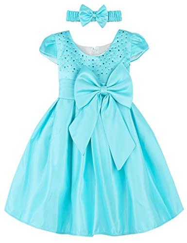 A&J Design Baby Mädchen Prinzessin Kleid Festlich Hochzeit Partykleid mit Stirnband (Blau, 2-3 Jahre)